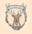 Valentines Day card with a deer a flower wreath vector image vector image