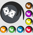 Two Aces icon Symbols on eight colored buttons vector image