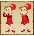 Dwarf in red clothing with sad and happy emotions vector image