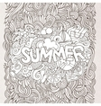 Summer hand lettering and doodles elements vector image