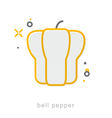 Thin line icons Bell pepper vector image