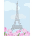 Eiffel tower with roses vector image vector image