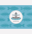 banner for seafood with anchor rope and seamless vector image