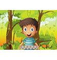 A boy holding an empty eggtray in the forest vector image