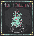 Vintage Merry Christmas Tree Chalkboard Hand Drawn vector image