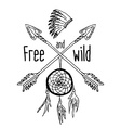 Dream catcher and crossed arrows tribal legend in vector image