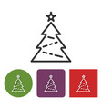 line icon of christmas tree in different variants vector image
