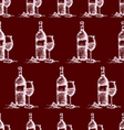 seamless wine pattern on red background vector image