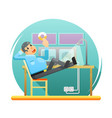 security guard controlling observation point vector image
