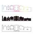 cuenca skyline linear style with rainbow vector image