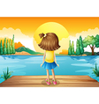 A girl watching the sunset vector image