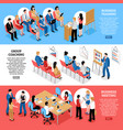 business meeting isometric horizontal banners vector image