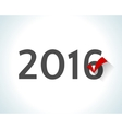 2016 written on white background with a red check vector image