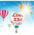 Couple in hot air hearts balloons EPS 10 vector image