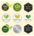 Badge Set of Certified organic Natural Fresh GMO vector image