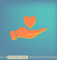 hand holding a heart symbol vector image