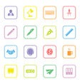 colorful flat icon set 8 with rounded rectangle fr vector image