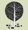 draw tree and flower minimal vector image