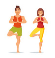characters man and woman doing yoga vector image