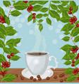 coffee cup and fresh coffee growing vector image