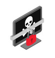 computer with pirate skull - virus hacker cyber vector image