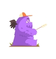 Violet Furry Giant Winged Monster Frying vector image