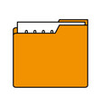 color silhouette image of folder with files sheet vector image