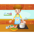 A male chef cooking in the kitchen vector image