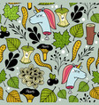 Seamless pattern with unicorns and plants vector image