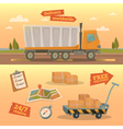 Delivery Service Concept Worldwide Delivery Truck vector image