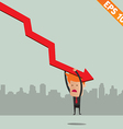 Cartoon Businessman hanging on graph - - EPS vector image