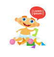 cute baby boy playing with toys toddler happy vector image