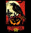 halloween pumpkin with raven vector image