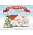 Christmas scene suburban house and fir tree vector image