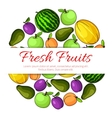 Fresh fruits banner Fruit icons emblem vector image vector image