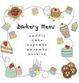 bakery doodle menu bakery white vector image