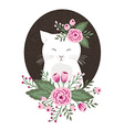 Hipster kitty with flowers on vintage textured vector image