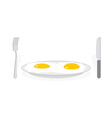 Scrambled eggs Two fried eggs on plate Cutlery vector image