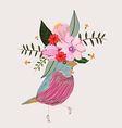 a little bird and blooming flowers vector image