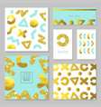 golden glitter card template set abstract gold vector image