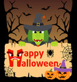 halloween background card with witch vector image