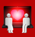 loving couple of human shape sitting on laptop vector image