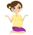 Pregnant yoga woman vector image