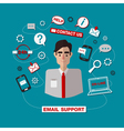 Technical Email Support Service with Man Online vector image