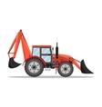 Tractor excavator bulldozer icon vector image