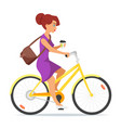woman riding on the bike with coffee in her hand vector image