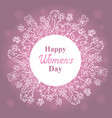 happy womens day march 8 floral wreath vector image
