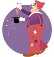 Clown doing a magic trick vector image