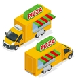 Fast Pizza Delivery Car isolated on white vector image