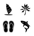 board with a sail a palm tree on the shore vector image